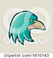 Clipart Of A Cartoon Styled Persian Green Profiled Eagle Mascot Head Icon On A Beige Background Royalty Free Vector Illustration