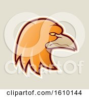 Clipart Of A Cartoon Styled Orange Profiled Eagle Mascot Head Icon On A Beige Background Royalty Free Vector Illustration by cidepix