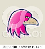 Clipart Of A Cartoon Styled Magenta Profiled Eagle Mascot Head Icon On A Beige Background Royalty Free Vector Illustration