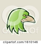 Clipart Of A Cartoon Styled Green Profiled Eagle Mascot Head Icon On A Beige Background Royalty Free Vector Illustration