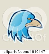 Clipart Of A Cartoon Styled Blue Profiled Eagle Mascot Head Icon On A Beige Background Royalty Free Vector Illustration by cidepix