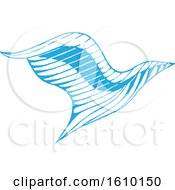Clipart Of A Sketched Blue Eagle Royalty Free Vector Illustration by cidepix