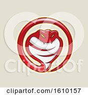 Cartoon Styled Red Cobra Snake Icon On A Beige Background