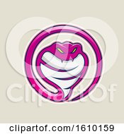 Cartoon Styled Magenta Cobra Snake Icon On A Beige Background