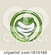 Cartoon Styled Green Cobra Snake Icon On A Beige Background
