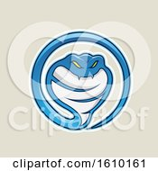 Cartoon Styled Blue Cobra Snake Icon On A Beige Background