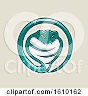 Clipart Of A Cartoon Styled Persian Green Cobra Snake Icon On A Beige Background Royalty Free Vector Illustration