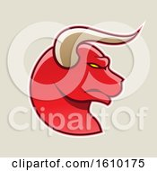 Clipart Of A Cartoon Styled Profiled Red Bull Head Icon On A Beige Background Royalty Free Vector Illustration