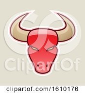 Clipart Of A Cartoon Styled Red Bull Head Icon On A Beige Background Royalty Free Vector Illustration
