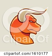 Clipart Of A Cartoon Styled Profiled Orange Bull Head Icon On A Beige Background Royalty Free Vector Illustration
