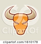 Clipart Of A Cartoon Styled Orange Bull Head Icon On A Beige Background Royalty Free Vector Illustration