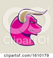 Clipart Of A Cartoon Styled Profiled Magenta Bull Head Icon On A Beige Background Royalty Free Vector Illustration