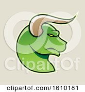 Clipart Of A Cartoon Styled Profiled Green Bull Head Icon On A Beige Background Royalty Free Vector Illustration