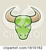 Clipart Of A Cartoon Styled Green Bull Head Icon On A Beige Background Royalty Free Vector Illustration