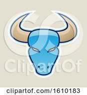 Clipart Of A Cartoon Styled Blue Bull Head Icon On A Beige Background Royalty Free Vector Illustration