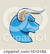 Clipart Of A Cartoon Styled Profiled Blue Bull Head Icon On A Beige Background Royalty Free Vector Illustration