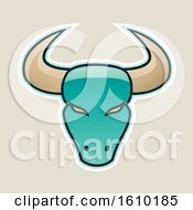 Clipart Of A Cartoon Styled Persian Green Bull Head Icon On A Beige Background Royalty Free Vector Illustration