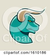 Clipart Of A Cartoon Styled Profiled Persian Green Bull Head Icon On A Beige Background Royalty Free Vector Illustration