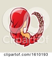 Cartoon Styled Red Haired Virgo Icon On A Beige Background