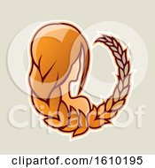 Clipart Of A Cartoon Styled Orange Haired Virgo Icon On A Beige Background Royalty Free Vector Illustration