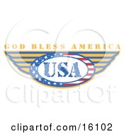 Circle Of Stars And Stripes Around The Usa Made In The United States With Wings And Text Reading God Bless America