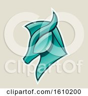 Clipart Of A Cartoon Styled Persian Green Horse Head Icon On A Beige Background Royalty Free Vector Illustration
