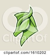 Cartoon Styled Green Horse Head Icon On A Beige Background