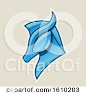 Poster, Art Print Of Cartoon Styled Blue Horse Head Icon On A Beige Background