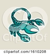 Poster, Art Print Of Cartoon Styled Persian Green Scorpio Scorpion Icon On A Beige Background