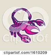 Poster, Art Print Of Cartoon Styled Magenta Scorpio Scorpion Icon On A Beige Background