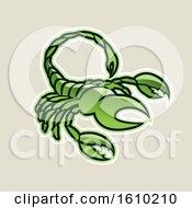 Poster, Art Print Of Cartoon Styled Green Scorpio Scorpion Icon On A Beige Background