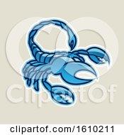 Poster, Art Print Of Cartoon Styled Blue Scorpio Scorpion Icon On A Beige Background