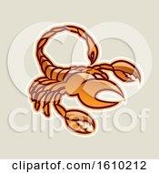 Poster, Art Print Of Cartoon Styled Orange Scorpio Scorpion Icon On A Beige Background