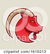Clipart Of A Cartoon Styled Red Goat Icon On A Beige Background Royalty Free Vector Illustration