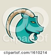 Clipart Of A Cartoon Styled Persian Green Goat Icon On A Beige Background Royalty Free Vector Illustration