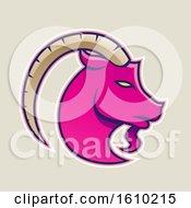 Cartoon Styled Magenta Goat Icon On A Beige Background