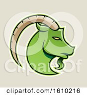 Clipart Of A Cartoon Styled Green Goat Icon On A Beige Background Royalty Free Vector Illustration