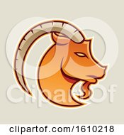 Clipart Of A Cartoon Styled Orange Goat Icon On A Beige Background Royalty Free Vector Illustration