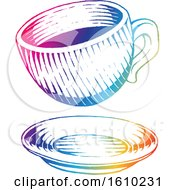 Poster, Art Print Of Sketched Colorful Coffee Cup And Saucer