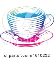 Clipart Of A Sketched Colorful Coffee Cup And Saucer Royalty Free Vector Illustration by cidepix
