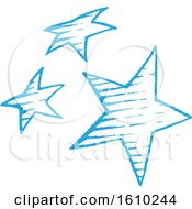 Clipart Of A Sketched Blue Group Of Stars Royalty Free Vector Illustration
