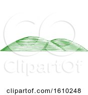 Clipart Of Sketched Green Hills Royalty Free Vector Illustration