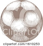 Clipart Of A Sketched Brown Soccer Ball Royalty Free Vector Illustration by cidepix