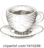 Poster, Art Print Of Sketched Brown Coffee Cup And Saucer