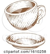 Clipart Of A Sketched Brown Coffee Cup And Saucer Royalty Free Vector Illustration by cidepix