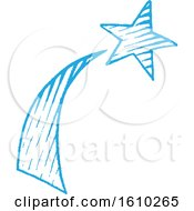 Clipart Of A Sketched Blue Shooting Star Royalty Free Vector Illustration