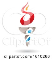 Poster, Art Print Of Flaming Torch With Letter S Shaped Fire