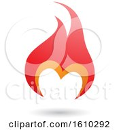 Poster, Art Print Of Flame Shaped Red And Orange Letter M