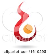 Poster, Art Print Of Fire Shaped Red And Orange Letter B