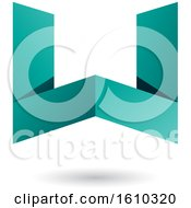 Clipart Of A Persian Green Folded Paper Letter W Royalty Free Vector Illustration